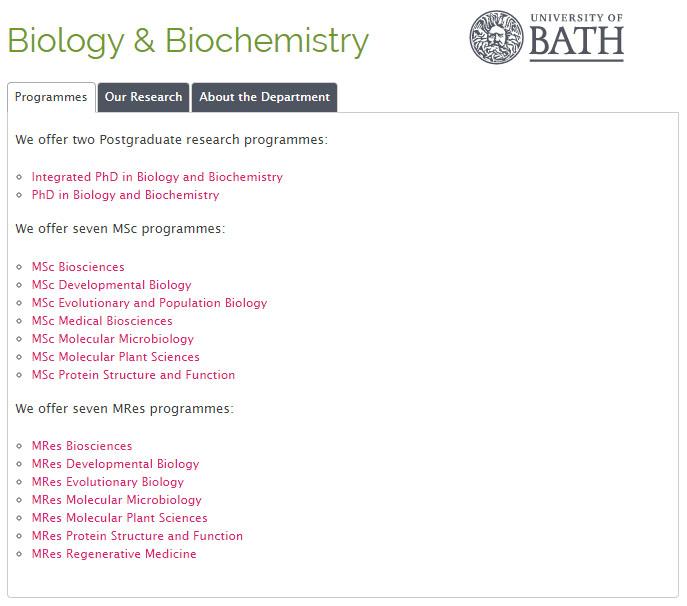 Cursos master MSc MRes Universidad Reino Unido Bath