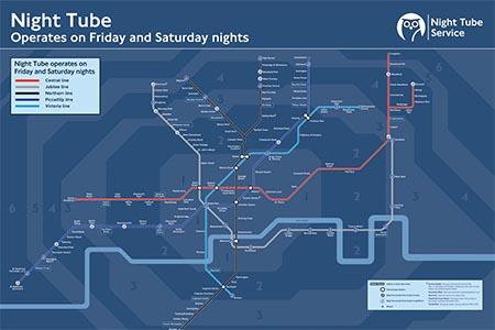 mapa metro 24 horas nocturno londres