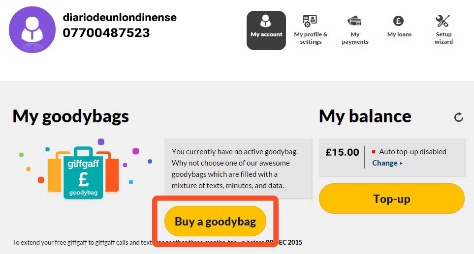 comprar goodybag giffgaff tutorial