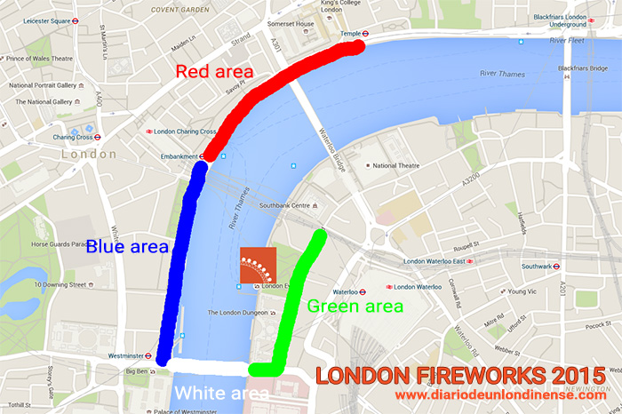 london fireworks fuegos arificiales londres viewing areas red blue white green 2015