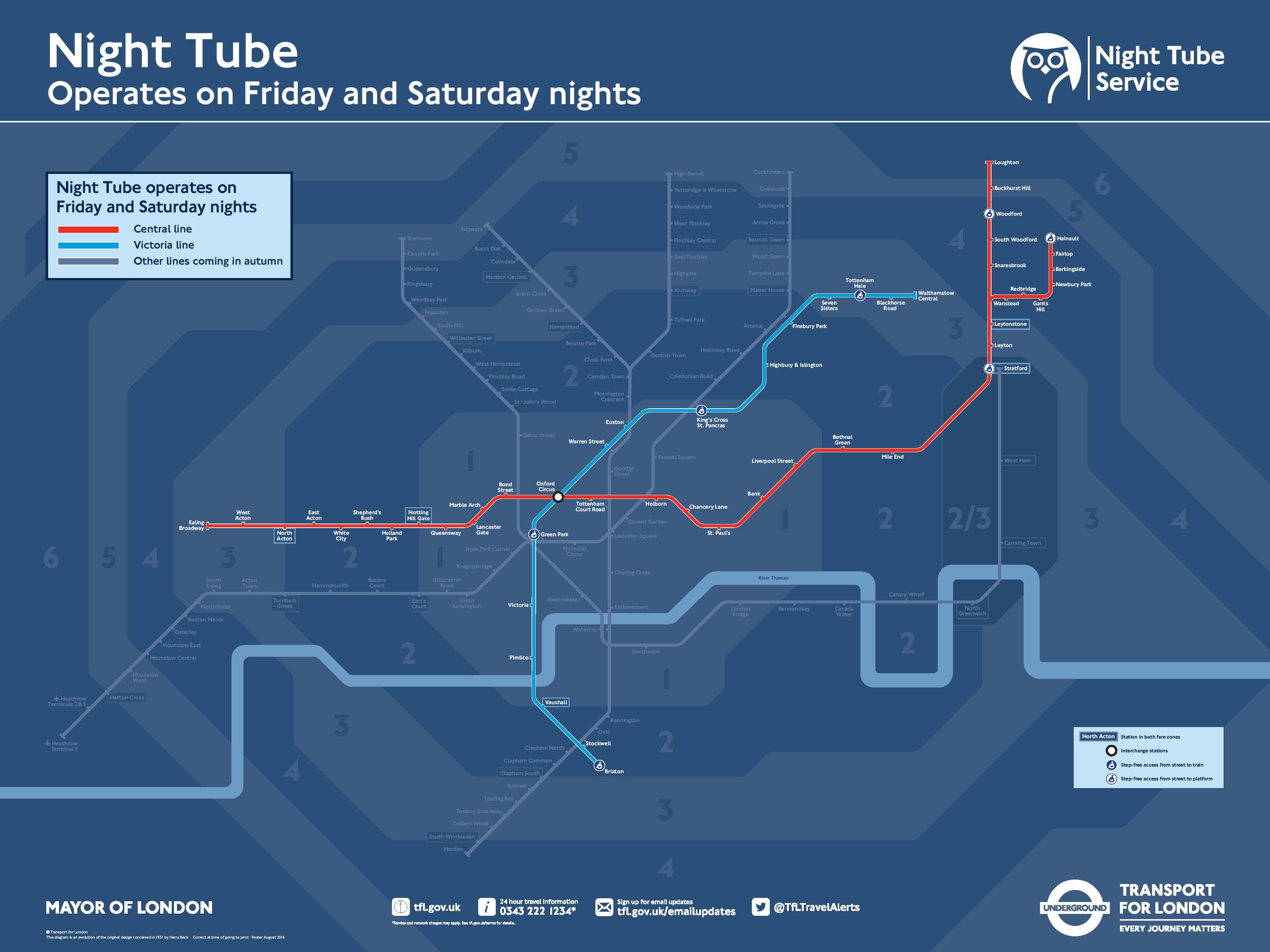 mapa metro nocturno 24 horas londres